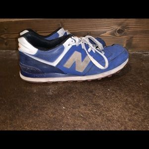 Men's 574 new balance blue and white shoes